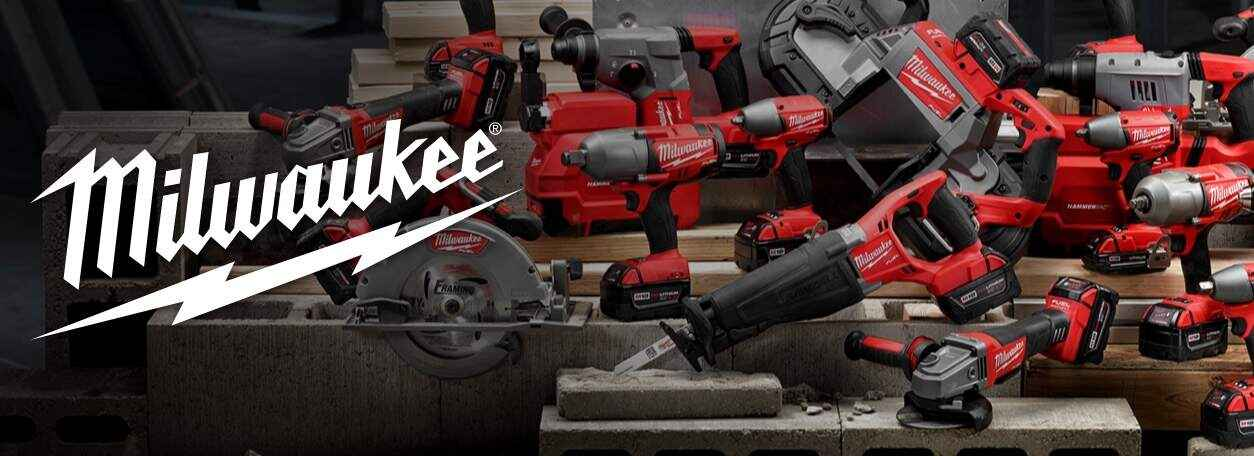 Milwaukee logo with power tools in background