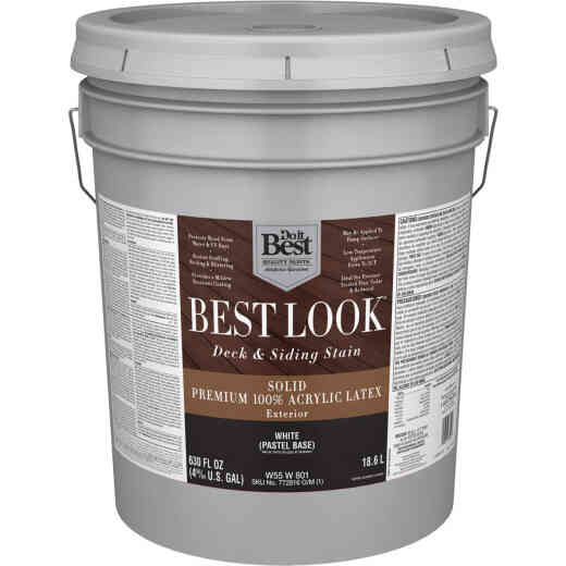 Best Look Solid Deck & Siding Exterior Stain, White Pastel Base, 5 Gal.